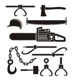 Lumberjack tools - pictogram Royalty Free Stock Photos