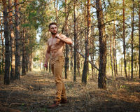 Lumberjack with the torso and cleaver. Lumberjack with cleaver walking through forest. Woodcutter with a naked torso. Felling trees. Logging. Manual labor Royalty Free Stock Images