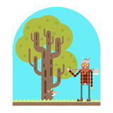 Lumberjack Tree wood nature concept flat design Royalty Free Stock Photos