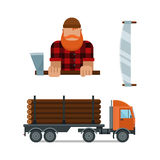 Lumberjack and truck icons vector illustration Stock Photo