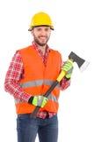 Lumberjack trzyma cioskę Zdjęcia Stock
