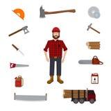 Lumberjack vector icon set. Royalty Free Stock Image