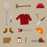 Lumberjack vector icon set. Stock Photo