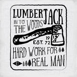 Lumberjack vintage label with two axes and trees.  Royalty Free Stock Photo