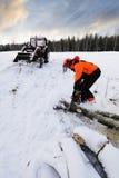 Lumberjack, winter and snow Royalty Free Stock Photos