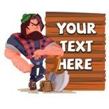 Lumberjack with wood sign. character design of carpenter - vector. Illustration royalty free illustration
