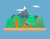Lumberjack in wood under Mountain Concept Royalty Free Stock Photos