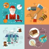 Lumberjack woodcutter composition Stock Images