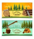Lumberjack Woodcutter Horizontal Banners Set Royalty Free Stock Photos