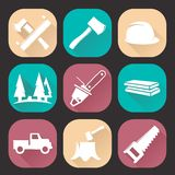 Lumberjack woodcutter icons set isolated on dark background. Flat trendy design Royalty Free Stock Images