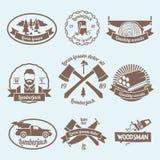Lumberjack woodcutter label Stock Images