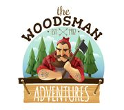 Lumberjack Woodsman Adventures  Logo Icon. Typical lumberjack woodsman holding ax with strong muscled tattooed hands adventures sign board icon label vector Royalty Free Stock Photography