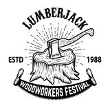 Lumberjack woodworkers festival. Stump with ax. Design element for label, emblem, badge, poster, t shirt. Vector illustration Royalty Free Stock Photo
