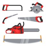 Lumberjack and woodworking tools icons isolated on white background. Axeman instruments saw set. Carpentry tools for Stock Photos