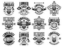 Lumberjack and woodworks vector vintage emblems vector illustration