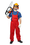 Lumberjack Worker With Chainsaw Isolated Stock Images