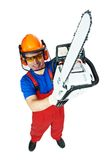 Lumberjack Worker With Chainsaw Isolated. Lumberjack Worker in protective safety equipment With Chainsaw isolated stock photos