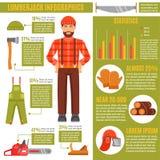 Lumberjack And Working Tools Infographics stock illustration