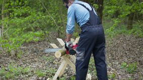 Lumberjack in workwear and goggles saws tree trunks in forest with electric saw