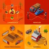 Lumberjack 2x2 Isometric Design Concept Stock Photos