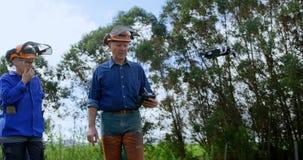 Lumberjacks działa trutnia w lesie 4k zbiory wideo