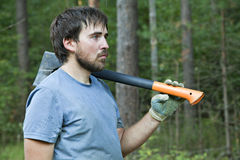 Lumberman with an axe Stock Photos