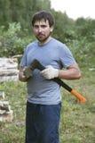 Lumberman with an axe Stock Photo