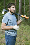 Lumberman with an axe Royalty Free Stock Images