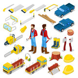 Lumberman with Firewood and Tools Isometric. Lumberman Woodcutter with Firewood and Tools Isometric Concept. Vector 3d flat illustration Royalty Free Stock Image