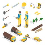 Lumberman Woodcutter Signs 3d Icons Set Isometric View. Vector. Lumberman Woodcutter Signs 3d Icons Set Isometric View Include of Ax, Lumber and Tools. Vector Stock Photography