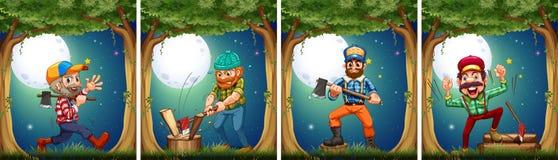 Lumbers chopping woods at night Stock Photos