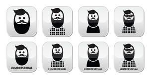Lumbersexual man, lumberjack - fashion trend buttons set Royalty Free Stock Photo