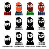 Lumbersexual man, lumberjack - fashion trend icons set Stock Photography