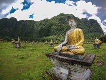 Lumbini. Buddha statues in Lumbini Garden near Hpa An, Myanmar Royalty Free Stock Photos