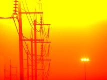 lumière électrique de tache de ligne électrique et de pilier Photo libre de droits