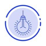 Lumière, ampoule, idée, astuces, ligne pointillée bleue ligne icône de suggestion illustration de vecteur