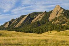 Lumière Boulder le Colorado de matin de Flatiron Photographie stock libre de droits