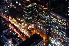 Lumière brouillée de ville dans la vue aérienne Lumière de construction de nuit urbaine defocused de fond de bokeh de résumé au c photo libre de droits