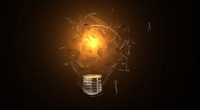 Lumière cassée par ampoule Photo stock