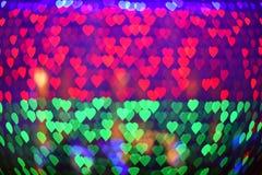 Lumière colorée de bokeh de coeur pour le fond de valentine Photographie stock