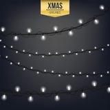 Lumière créative abstraite de guirlande de Noël d'isolement sur le fond descripteur Art de clipart d'illustration de vecteur pour Images libres de droits