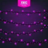 Lumière créative abstraite de guirlande de Noël d'isolement sur le fond descripteur Art de clipart d'illustration de vecteur pour Images stock