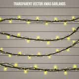 Lumière créative abstraite de guirlande de Noël d'isolement sur le fond descripteur Dirigez l'art de clipart d'illustration pour  Image libre de droits