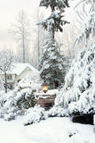 Lumière d'allée en dehors de maison neigeuse Images stock