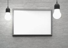 Lumière d'ampoule avec le cadre sur le mur pour votre texte, logo, image 3d Photographie stock