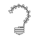 lumière d'ampoule avec le symbole d'écologie de feuilles illustration libre de droits