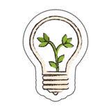 lumière d'ampoule avec le symbole d'écologie de feuilles illustration stock