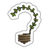 lumière d'ampoule avec le symbole d'écologie de feuilles Images libres de droits