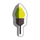 lumière d'ampoule avec le symbole d'écologie de feuilles Photographie stock