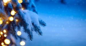 Lumière d'arbre de Noël ; fond bleu de neige Images stock
